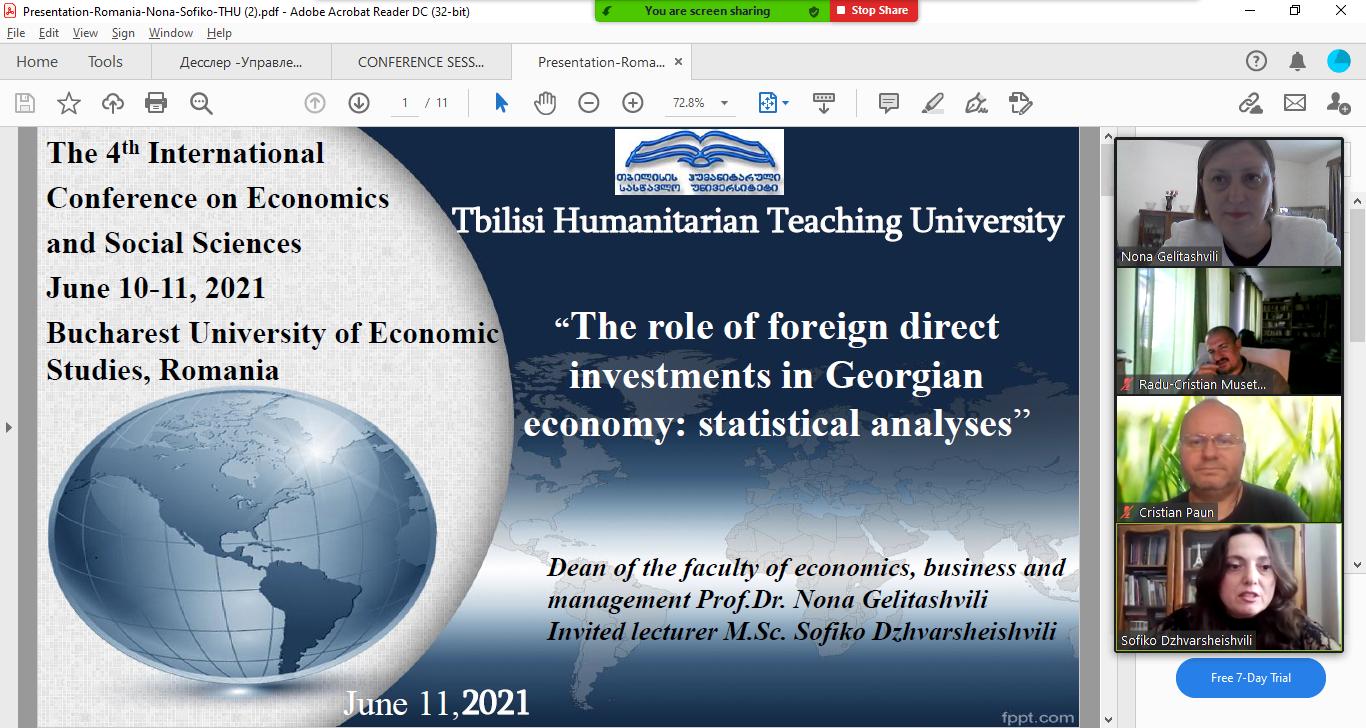 ეკონომიკის, ბიზნესისა და მართვის ფაკულტეტის დეკანის - პროფ. დოქტ. ნონა გელიტაშვილის და მოწვეული ლექტორის - სოფიკო ჯვარშეიშვილის წარმატებული მონაწილეობა საერთაშორისო კონფერენციაში